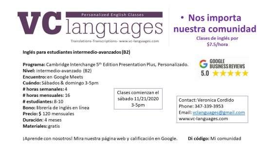 Fotos de Clases comunitarias de inglés como segunda lengua a tan solo $7.5 la hora. 5