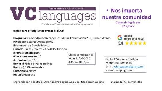 Fotos de Clases comunitarias de inglés como segunda lengua a tan solo $7.5 la hora. 3