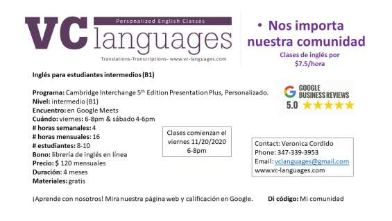 Fotos de Clases comunitarias de inglés como segunda lengua a tan solo $7.5 la hora. 4